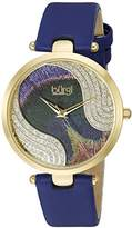 Burgi Women's BUR131BU Swarovski Crystal Accented Peacock Feather Dial Yellow Gold and Blue Satin over Leather Strap Watch