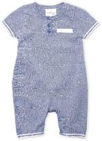 Cuddl Duds Newborn Boys) Blue Knit Henley Coveralls
