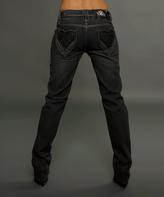 Rebel Spirit Black Heart Pocket Bootcut Jeans