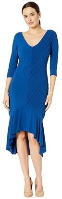 Adrianna Papell Pintucked Jersey Flounce Dress (Night Flight) Women's Dress