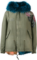 Mr & Mrs Italy - blue fur lined mini parka - women - Cotton/Lamb Skin/Polyamide/Racoon Fur - XXS