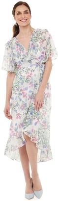 Chaps Petite Print Chiffon Faux-Wrap Dress