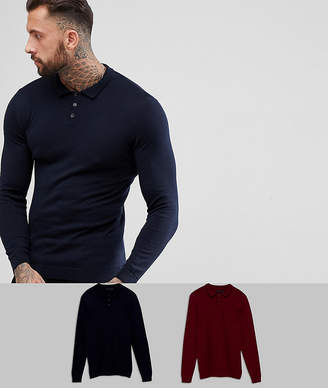 Asos Design DESIGN muscle fit polo in navy / burgundy 2 pack save-Multi