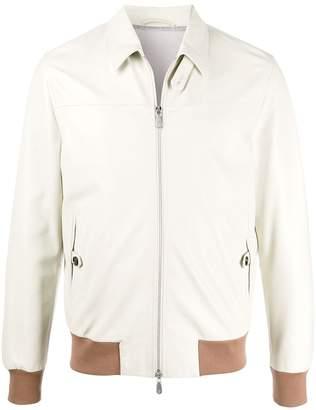 Eleventy Contrast-Trimmed Leather Jacket