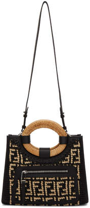 Fendi Black and Beige Raffia Small Forever Runaway Shopper Tote