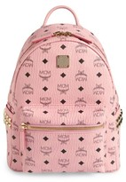 MCM Small Stark Side Stud Coated Canvas Backpack - Pink