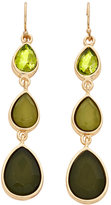 Catherine Stein Gold-Tone & Olive Three-Drop Earrings