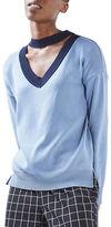 Topshop Choker V-Neck Sweatshirt