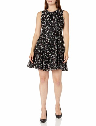 Gabby Skye Women's Sleeveless Round Neck Lace Fit and Flare Dress w. Cut Out