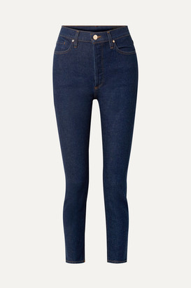 Gold Sign The High Rise Slim-leg Jeans - Dark denim