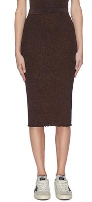 Alexander Wang Rib knit ruffle hem sparkle embellished skirt