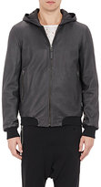 Lot 78 x Barneys New York Men's Leather Hooded Bomber Jacket-BLACK