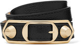 Balenciaga Metallic Edge Textured-leather And Gold-tone Bracelet - Black