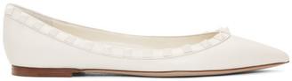 Valentino White Garavani Tonal Rockstud Ballerina Flats