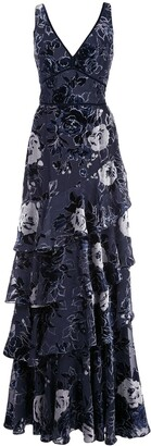 Marchesa Notte Floral Tiered Gown