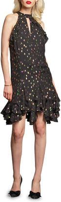 Eva Franco Grada Metallic Dot Ruffle-Hem Halter Dress
