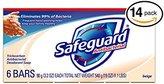 Safeguard (PACK OF 14 BARS BEIGE Antibacterial Bar Soap for Men & Women. ELIMINATES 99% OF BACTERIA! Washes Away Dirt & Odor! Healthy Skin for Hands, Face & Body! (14 Bars, 4.00oz Each Bar)