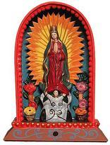 Religious Wooden Catholic Retablo Sculpture, 'Our Lady of Guadalupe'