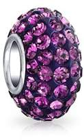 Bling Jewelry Purple Crystal Bead Sterling Silver Charm.