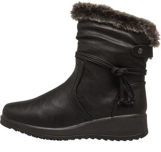 Board Angels Womens Faux Fur Trim Boots Black