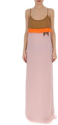 Prada Contrast Ruffle Trimmed Maxi Dress