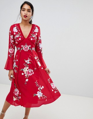 Asos DESIGN embroidered midi dress with lace trims
