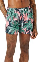 Topman Men's Palm Print Swim Trunks