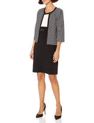 Sandra Darren Women's Petite 2 Pc 3/4 Sleeve Printed Knit Sheath Dress with Jacket Black/White/Ivory 10P
