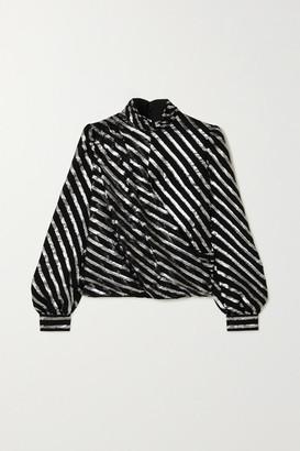 MICHAEL Michael Kors Wrap-effect Metallic Striped Silk-blend Blouse - Black