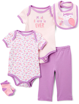 Buster Brown Violet & Pink 'Hoo' Five-Piece Layette Set - Infant