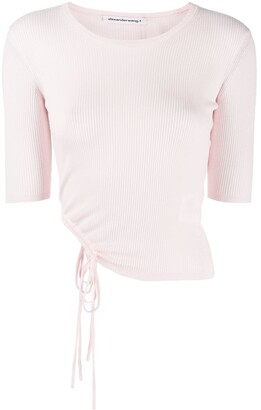 Alexander Wang Ribbed Ruched-Side Top
