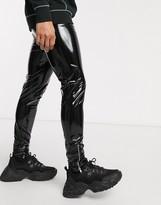 Asos Design DESIGN wet look meggings with zips