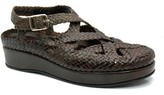 "Pons Quintana 8236"" Dark Brown Woven Leather Criss Cross Sandal"
