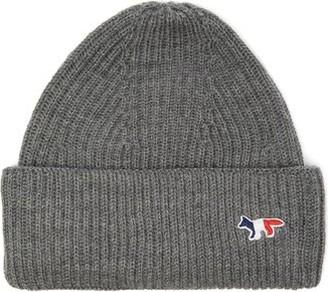 MAISON KITSUNÉ Tricolour Fox Ribbed Wool-blend Beanie Hat - Mens - Grey