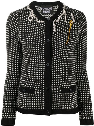 Boutique Moschino Faux-Pearl Trimmed Cardigan