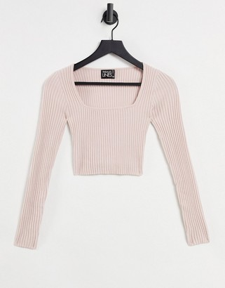 Parallel Lines co-ord knit long sleeve top in mink