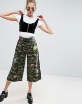 Asos Camo Lace Up Wide Leg Pants with Badges