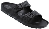Jessica Carlyle Women's Sandals BLACK - Black Croc-Embossed Double-Strap Summer Sandal - Women