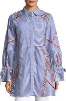 Tanya Taylor Charlee Striped Embroidered Menswear Shirt
