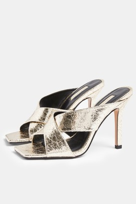Topshop SHAY Metallic Gold Cross Over Mules