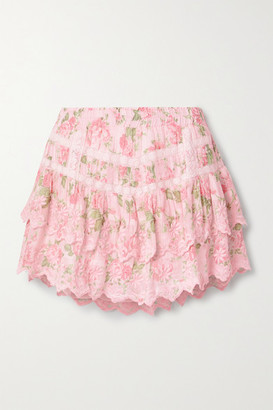 LoveShackFancy Emilia Tiered Embroidered Floral-print Cotton-voile Mini Skirt - Pink