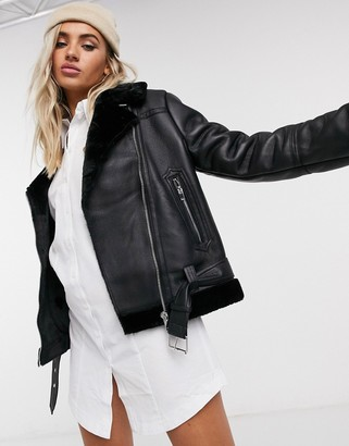 Topshop faux leather aviator jacket in black