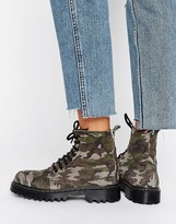 Park Lane Chunky Sole Camo Print Lace Up Boot
