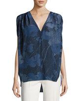 Halston Cape-Sleeve Deep V-Neck Silk Top