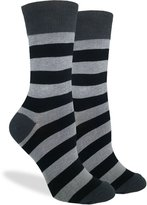 Good Luck Sock Women's Grey & Striped Crew Socks