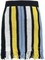 ENGLISH FACTORY STRIPE Mini skirt ocean green combo