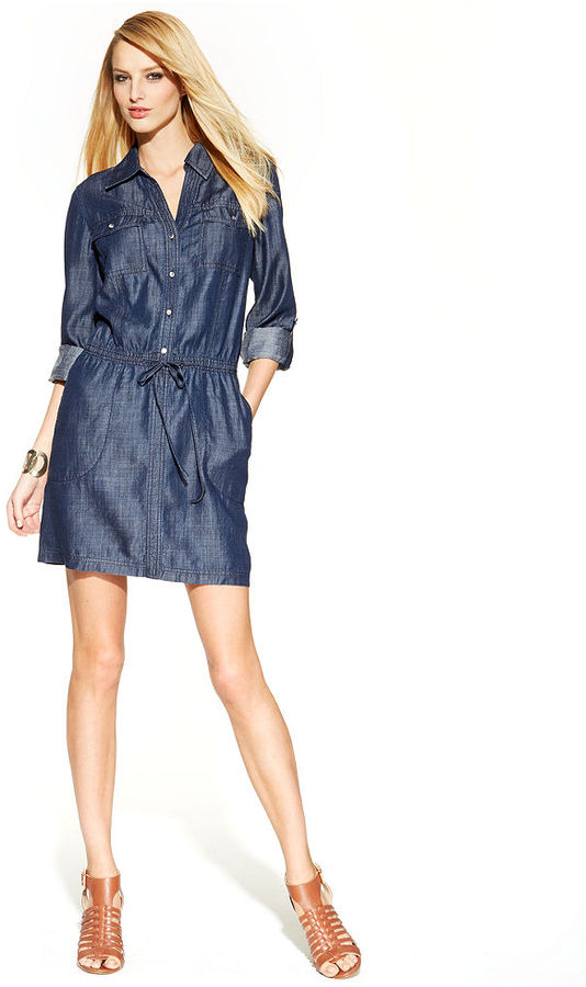 INC International Concepts Roll-Tab-Sleeve Denim Shirt Dress
