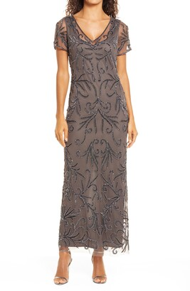Pisarro Nights Illusion Beaded Mesh Gown