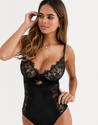 Figleaves Pulse fuller bust eyelash lace cut-out quarter cup body in black