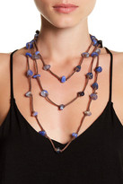 Natasha Accessories Long Wrap Suede & Stone Layered Necklace